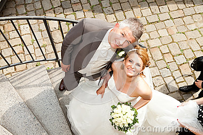 Wedding couple corkscrew stairs