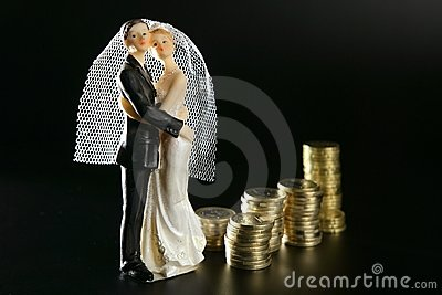 Wedding couple figurine and golden coins