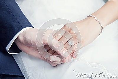 Wedding couple holding hand with diamond ring