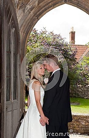 Free Wedding Couple In Church Entrance Stock Photos - 17694853