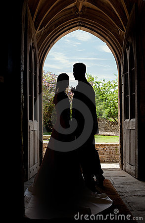 Free Wedding Couple In Church Entrance Royalty Free Stock Images - 18979939
