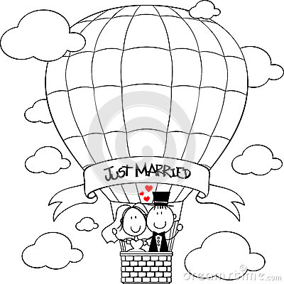 Free Wedding Couple On Hot Air Balloon Royalty Free Stock Image - 44409306
