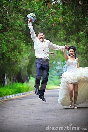 Wedding couple at a park