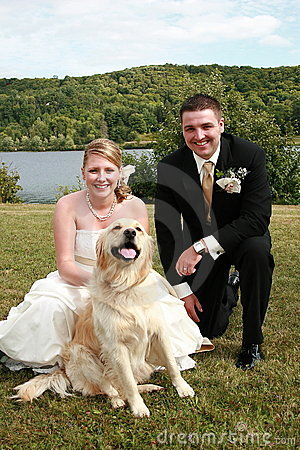 Wedding couple and pet