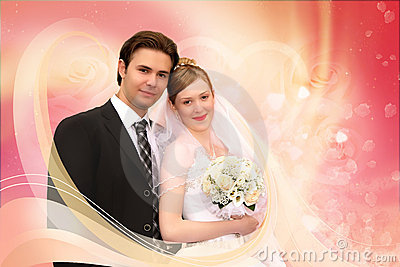 Wedding couple pink collage