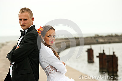Wedding couple in port