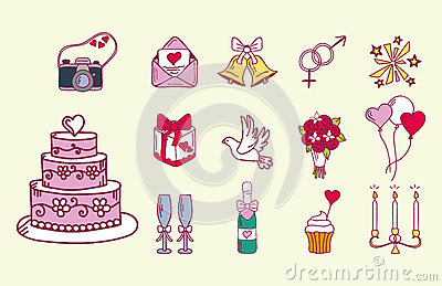 Wedding couple relationship marriage nuptial icons design ceremony celebration and holliday folk icons beauty hand drawn Vector Illustration