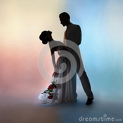 Free Wedding Couple Silhouette Groom And Bride On Colors Background Stock Photos - 91669593