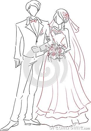 Wedding couple sketch