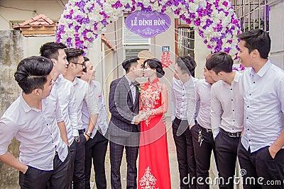 Wedding Couple Under Banner Free Public Domain Cc0 Image