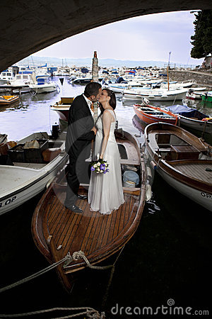 Wedding couple on vessel