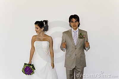 Wedding cuple playing detention
