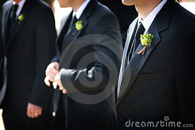 Wedding day groom and his boutonniere