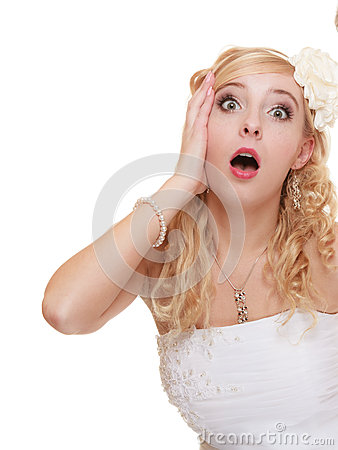 Free Wedding Day. Surprised Bride Face Isolated Royalty Free Stock Photos - 51553918