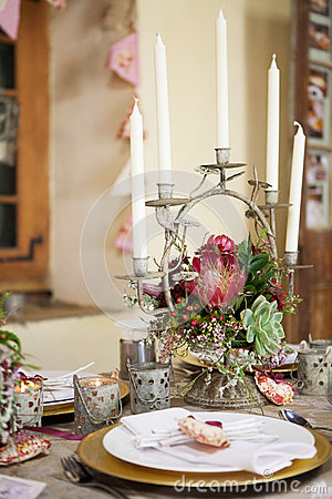 Wedding decoration, flowers and table centerpiece