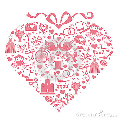 Free Wedding Design Icons For Web And Mobile In Hearts Royalty Free Stock Photos - 39631828