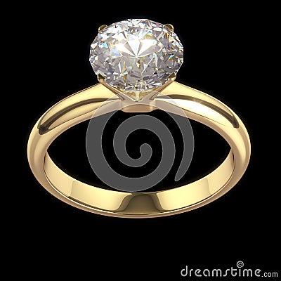 Wedding diamond ring isolated on black