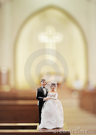 Wedding doll in church