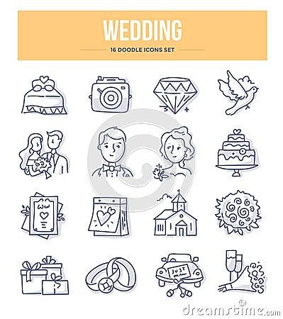 Free Wedding Doodle Icons Stock Photo - 131815400