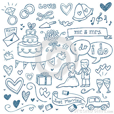 Free Wedding Doodles Royalty Free Stock Photo - 30129055