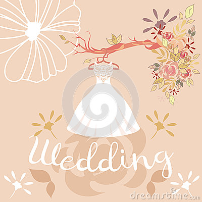 Wedding dress, colorful flowers and lettering Vector Illustration
