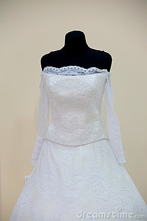 Wedding dress on mannequin