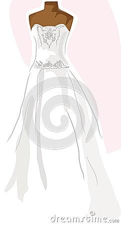 Wedding dress on mannequin - pink