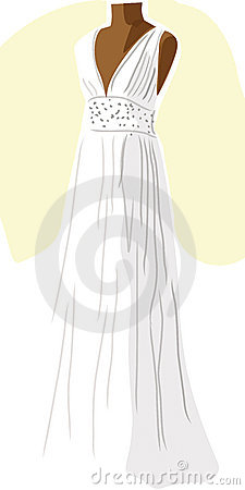 Wedding dress on mannequin - yellow