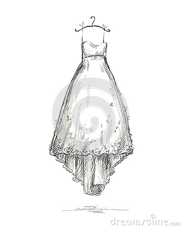 Free Wedding Dress On A Hanger, Hand Drawn. Stock Photo - 30510020