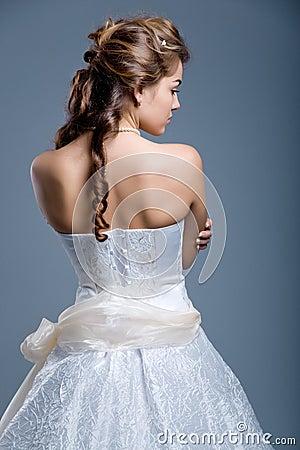 Free Wedding Dress On Fashion Model Stock Image - 4561261
