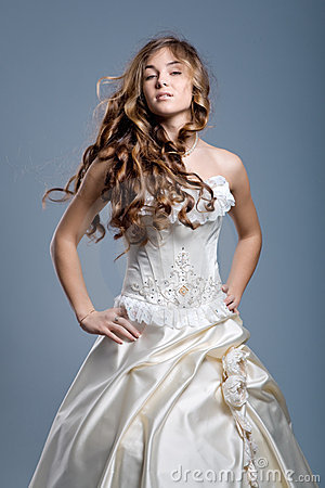 Free Wedding Dress On Fashion Model Royalty Free Stock Photography - 4561387