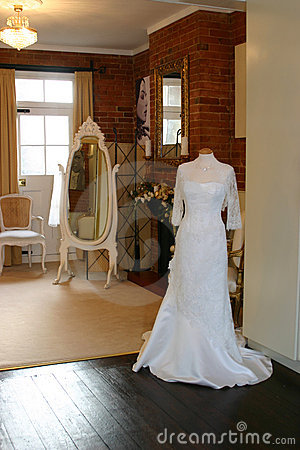 A wedding dress in a shop