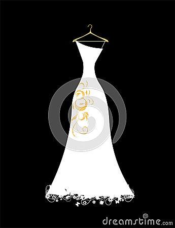 Wedding dress white on hangers