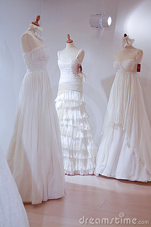 Wedding dresses waiting for their brides