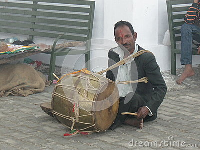 Wedding drummer at Kunjapuri Temple near Rishikesh India