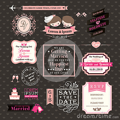 Free Wedding Elements Labels And Frames Vintage Style Royalty Free Stock Photography - 36548457