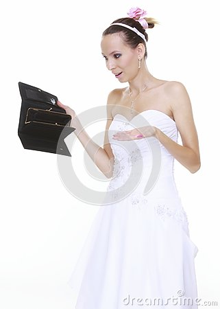 Wedding expense concept. Bride with empty purse