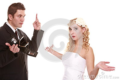 Wedding expense concept. Bride groom with empty purse