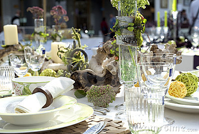 Wedding festive table closeup