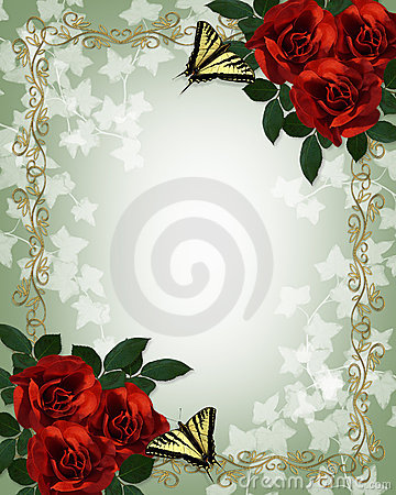Wedding floral border Red Roses Butterflies