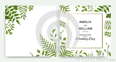 Wedding floral invite cards design with watercolor style deferent leaves Stock Photo