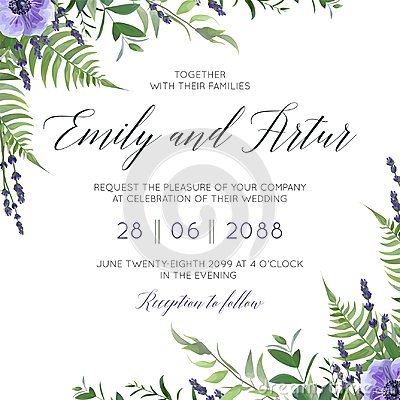 Wedding floral invite, invitation save the date card design with watercolor lavender blossom, violet anemone flowers, forest gree Vector Illustration