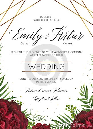 Free Wedding Floral Invite, Invitation Save The Date Card Design With Burgundy Red Garden Rose Flowers, Tropical Palm Leaves, Ferns, Be Stock Photo - 113885440