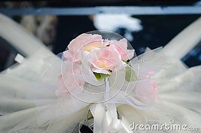 Wedding flower on car