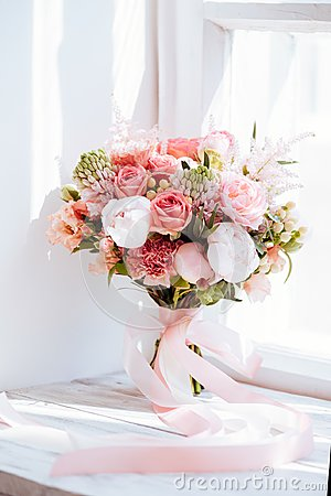 Free Wedding Flowers, Bridal Bouquet Closeup. Stock Image - 119910801