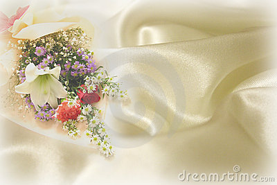 Wedding flowers and fabric