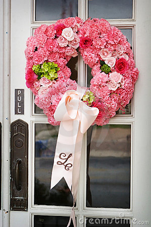 Wedding Flowers On The Front Door Of A Chu