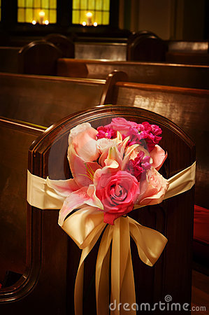 Free Wedding Flowers In A Church Royalty Free Stock Image - 5234176