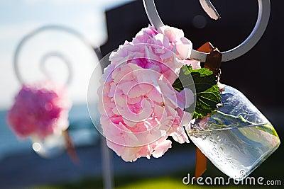 Wedding flowers in jar