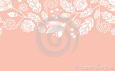 Wedding flowers and leaves horizontal seamless